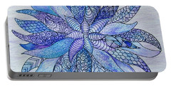 Portable Battery Charger featuring the drawing Zen Flower Mandala by Megan Walsh