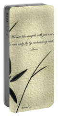 Zen Sumi 4d Antique Motivational Flower Ink On Watercolor Paper By Ricardos Portable Battery Charger