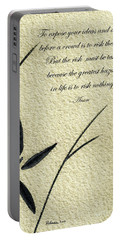 Zen Sumi 4n Antique Motivational Flower Ink On Watercolor Paper By Ricardos Portable Battery Charger