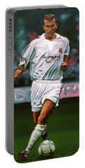 Zidane At Real Madrid Painting Portable Battery Charger by Paul Meijering