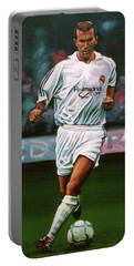 Zidane At Real Madrid Painting Portable Battery Charger