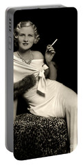 Ziegfeld Model Reclining In Evening Dress  Holding Cigarette By Alfred Cheney Johnston Portable Battery Charger