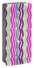 Zig Zig Stripes Portable Battery Charger by Louisa Knight