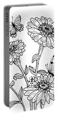 Zinnia And Butterflies Drawing Portable Battery Charger