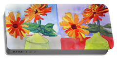 Portable Battery Charger featuring the painting Zinnia Diptych by Sandy McIntire