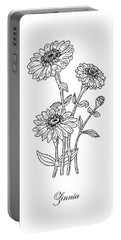 Zinnia Flower Botanical Drawing  Portable Battery Charger