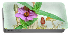 Zinnia In The Mushrooms Portable Battery Charger by Larry Bishop