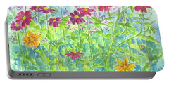 Portable Battery Charger featuring the painting Zinnias  by Cathie Richardson