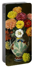 Zinnias In Decorative Italian Vase Portable Battery Charger