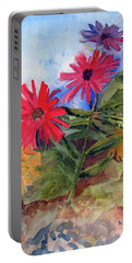 Portable Battery Charger featuring the painting Zinnias In The Garden by Sandy McIntire