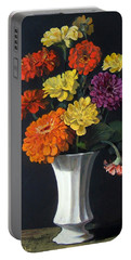 Zinnias Showing Their True Colors In White Vase Portable Battery Charger
