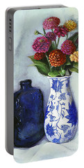 Portable Battery Charger featuring the painting Zinnias With Blue Bottle by Marlene Book