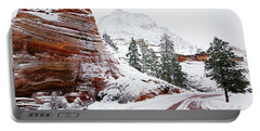 Zion Road In Winter Portable Battery Charger by Daniel Woodrum