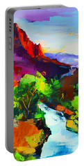 Portable Battery Charger featuring the painting Zion - The Watchman And The Virgin River by Elise Palmigiani