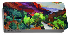 Portable Battery Charger featuring the painting Zion - The Watchman And The Virgin River Vista by Elise Palmigiani
