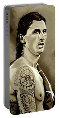 Zlatan Ibrahimovic Sepia Portable Battery Charger by Paul Meijering