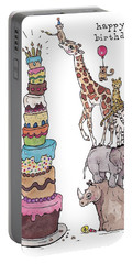 Zoo Animals Happy Birthday Card Portable Battery Charger