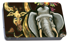 Portable Battery Charger featuring the digital art Zoo Animals by Kevin Middleton