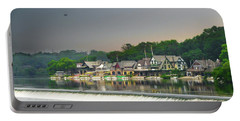 Portable Battery Charger featuring the photograph Zoo Balloon Flying Over Boathouse Row by Bill Cannon