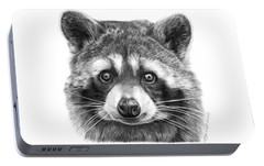 Portable Battery Charger featuring the drawing 046 Zorro The Raccoon by Abbey Noelle