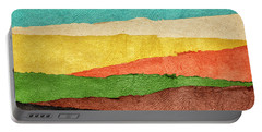 Abstract Landscape Created With Handmade Paper Portable Battery Charger
