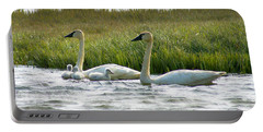 Arctic Tundra Swans And Cygnets Portable Battery Charger
