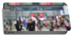 Blurred Background Of Busy Transportation Hub Portable Battery Charger