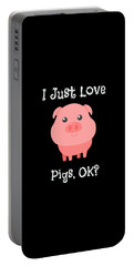 Cute Funny I Just Love Pigs Ok Portable Battery Charger