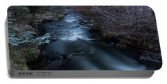Frozen River And Winter In Forest. Long Exposure With Nd Filter Portable Battery Charger
