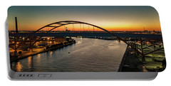 Portable Battery Charger featuring the photograph Hoan Bridge At Dusk by Randy Scherkenbach