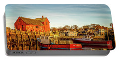 Low Tide And Lobster Boats At Motif #1 Portable Battery Charger