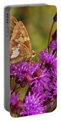 Moth On Purple Flowers Portable Battery Charger