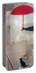 Paris Graffiti Man With Red Umbrella Portable Battery Charger