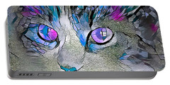 Purple Stained Glass Kitty Portable Battery Charger
