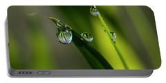 Rain Drops On Grass Portable Battery Charger