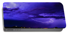 Rays In A Night Storm With Light And Clouds. Portable Battery Charger