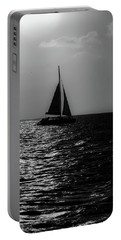 Sailing Into The Sunset Black And White Portable Battery Charger