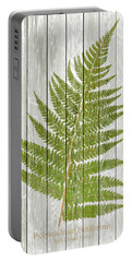 19th Century Fern Illustration Stamped On Whitewashed Or White W Portable Battery Charger
