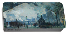 Portable Battery Charger featuring the digital art Arrival Of The Normandy Train, Gare Saint-lazare by Claude Monet