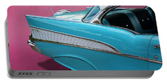 Portable Battery Charger featuring the photograph Turquoise 1957 Chevrolet Bel Air by Debi Dalio