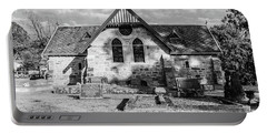 19th Century Sandstone Church In Black And White Portable Battery Charger