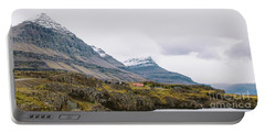 High Icelandic Or Scottish Mountain Landscape With High Peaks And Dramatic Colors Portable Battery Charger