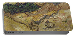 Landscape With Rabbits Portable Battery Charger