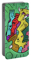 Portable Battery Charger featuring the digital art Psychedelic Animals by Sotuland Art