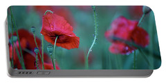 Red Corn Poppy Flowers Portable Battery Charger