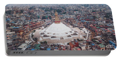 Portable Battery Charger featuring the photograph Stupa Temple Bodhnath Kathmandu, Nepal From Air October 12 2018 by Raimond Klavins