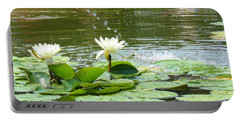 2 White Water Lilies Portable Battery Charger
