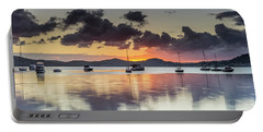 Overcast Morning On The Bay With Boats Portable Battery Charger