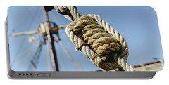 Rigging And Ropes On An Old Sailing Ship To Sail In Summer. Portable Battery Charger