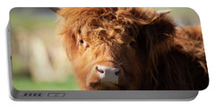 Highland Cow On The Farm Portable Battery Charger